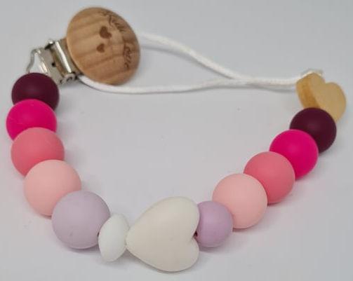 Kidi Love Klip na cumlík 2v1 Pastel LOVE, Pink