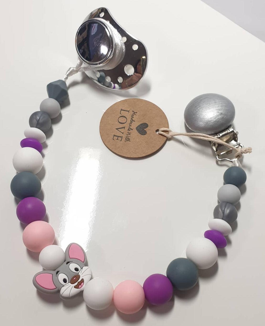Kidi Love Klip na cumlík 2v1 MYŠKA Jerry, pink/lila