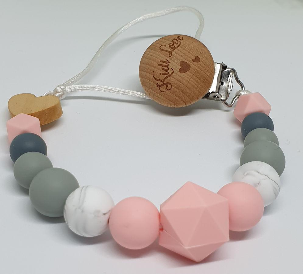 Kidi Love Klip na cumlík 2v1 BUBBLE pastel pink