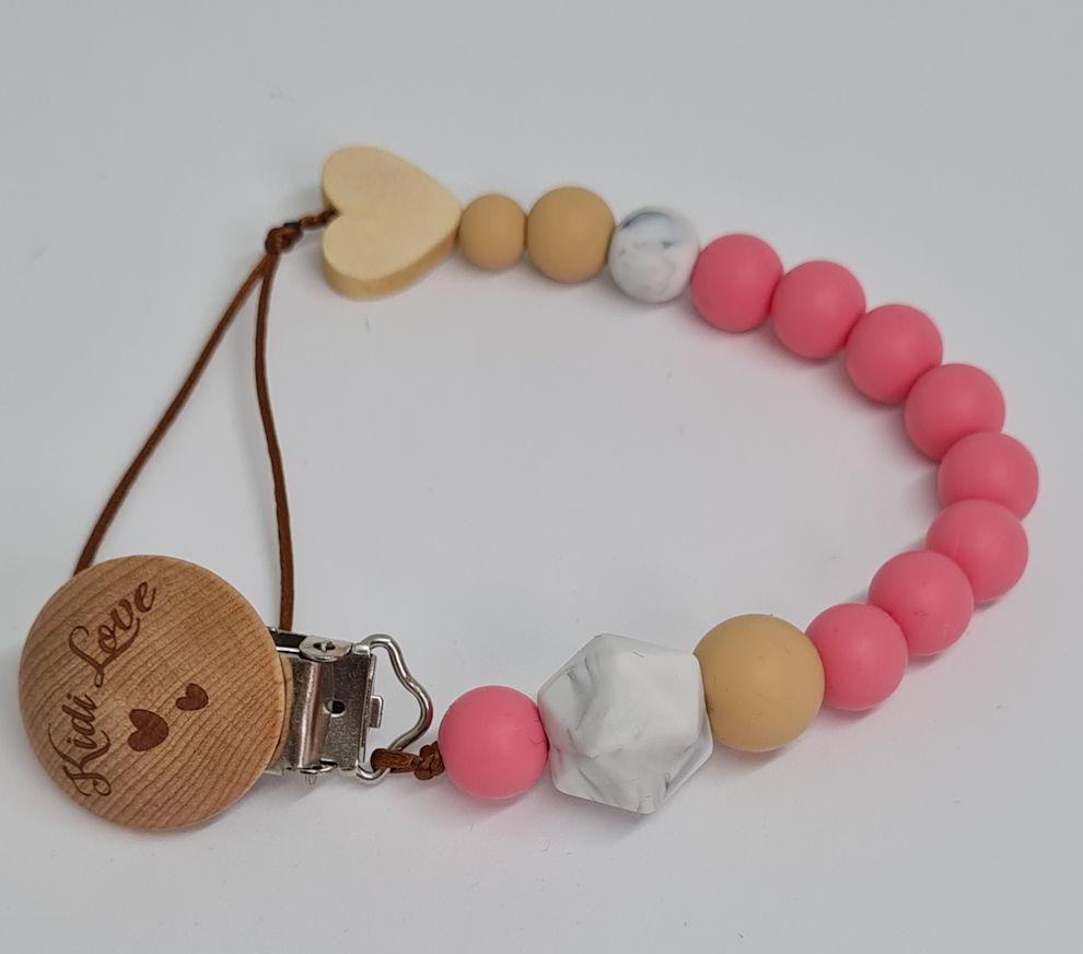 Kidi Love Klip na cumlík 2v1 MINI pastel pink