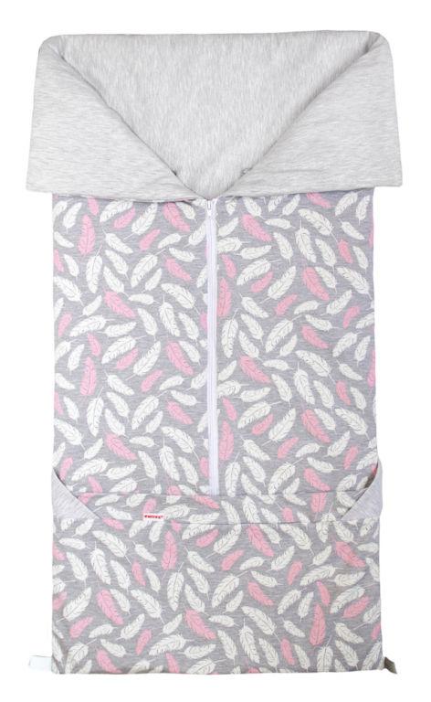 Emitex Fusak 2v1 BARY bavlna/bavlna - PIERKO ružové / šedý melanž