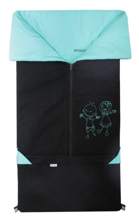 Emitex Fusak 2v1 FANDA fleece/bavlna - čierny / aqua