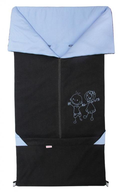 Emitex Fusak 2v1 FANDA fleece/bavlna - čierny / sv.modrý