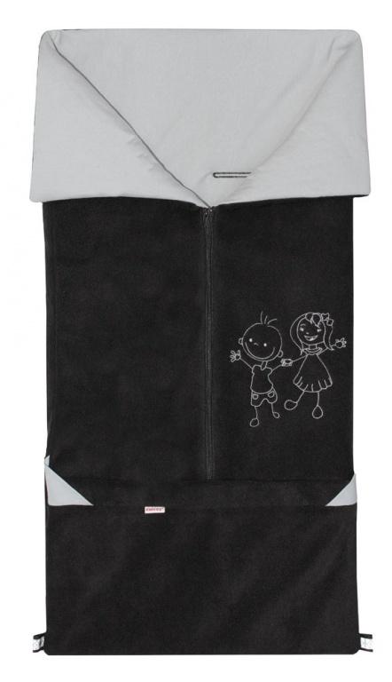 Emitex Fusak 2v1 FANDA fleece/bavlna - čierny / šedý