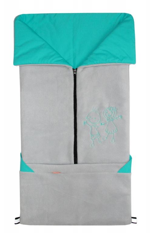 Emitex Fusak 2v1 FANDA fleece/bavlna - sv.šedý / aqua