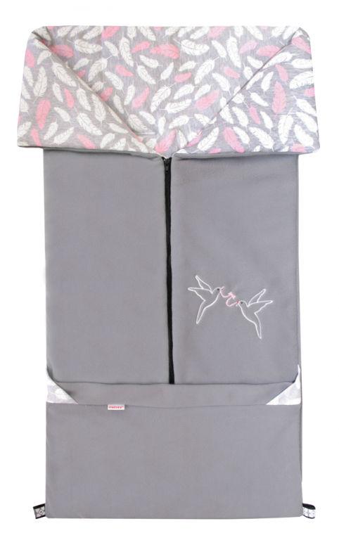 Emitex Fusak 2v1 FANDA fleece/bavlna - šedý / PIERKO ružové