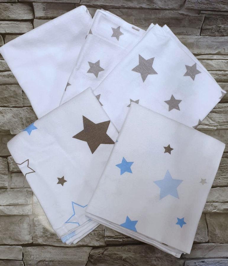 ByBoom Flanelové plienky 70x80cm, 5ks - STARS modré