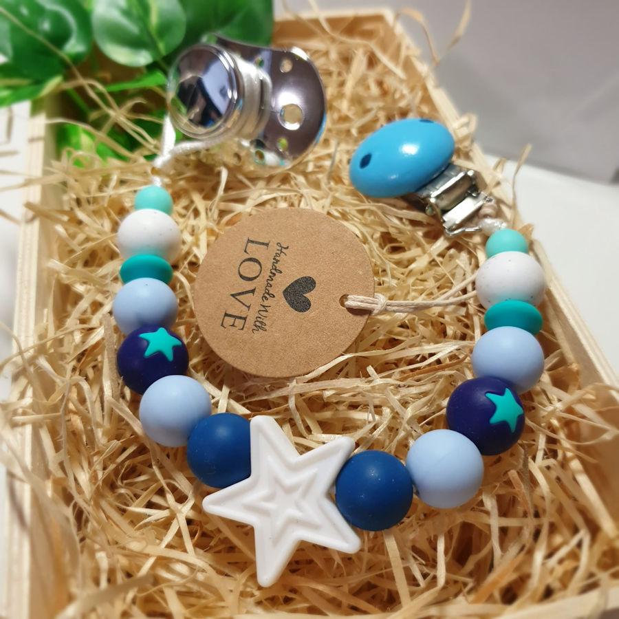 Kidi Love Klip na cumlík 2v1 Hviezda, Modrá / Biela