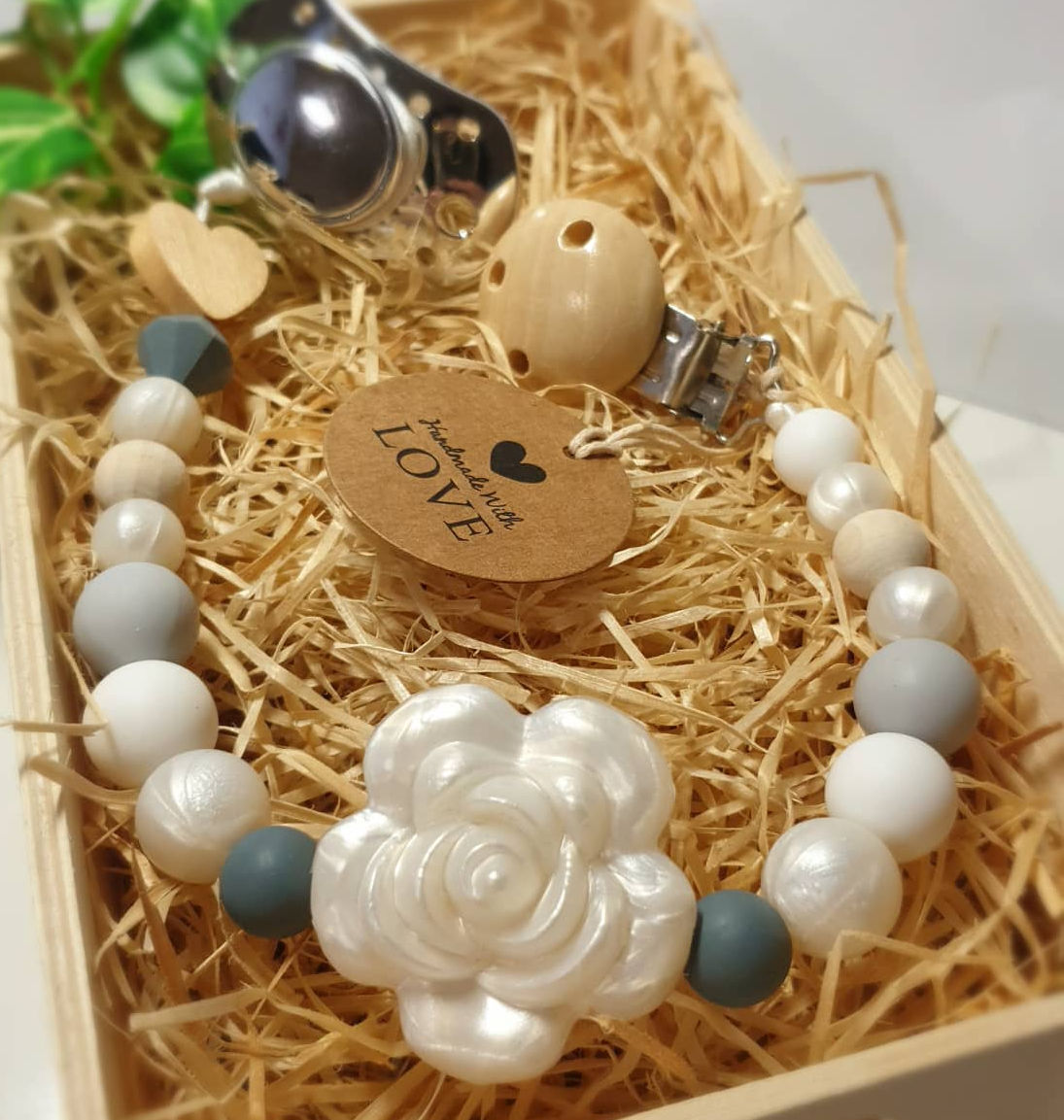 Kidi Love Klip na cumlík 2v1 KVET veľký, biely perleť