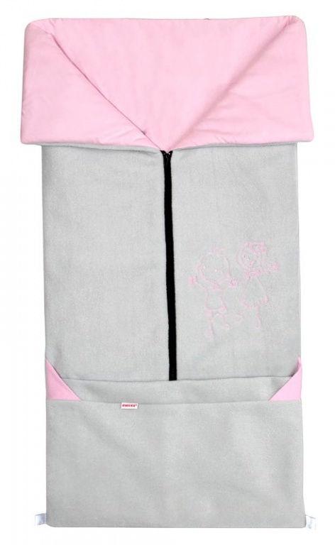 Emitex Fusak 2v1 FANDA fleece/bavlna - sv.šedý / ružový