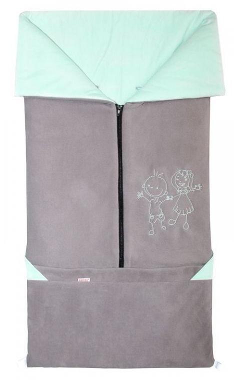 Emitex Fusak 2v1 FANDA fleece/bavlna - šedý / mentol