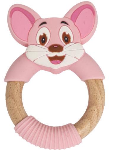 Kidi Love Hrýzatko silikónové s drevom MYŠKA 9cm - pink