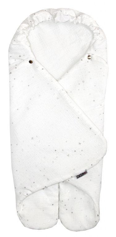 Emitex Zavinovačka MUSE - biela, strieborné hviezdičky