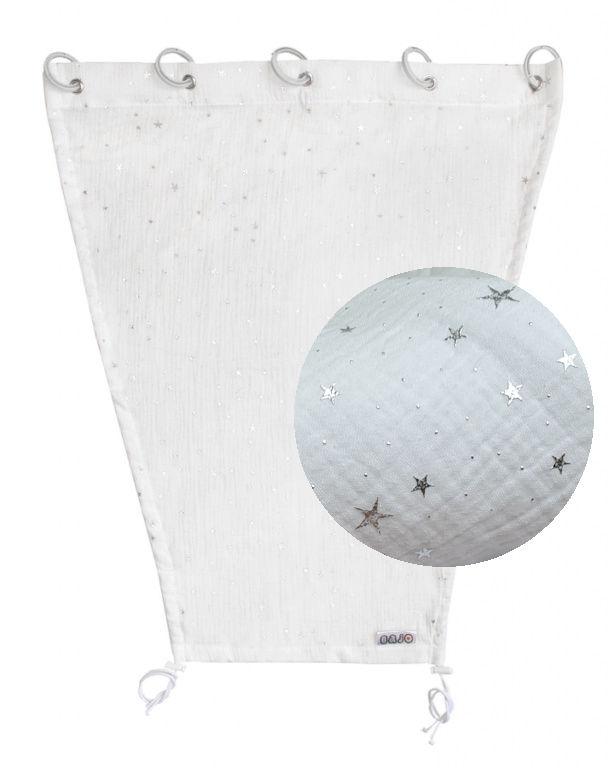 Emitex Slnečná clona MUŠELÍN - biela, strieborné hviezdy