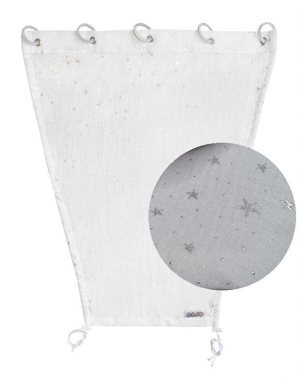 Emitex Slnečná clona MUŠELÍN - svetlo šedá, hviezdičky