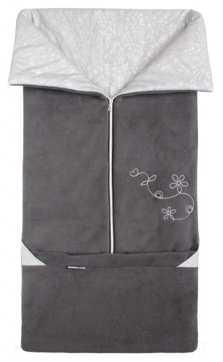 Emitex Fusak 2v1 FANDA fleece/bavlna - Antracit / šedý strieborné KVIETKY